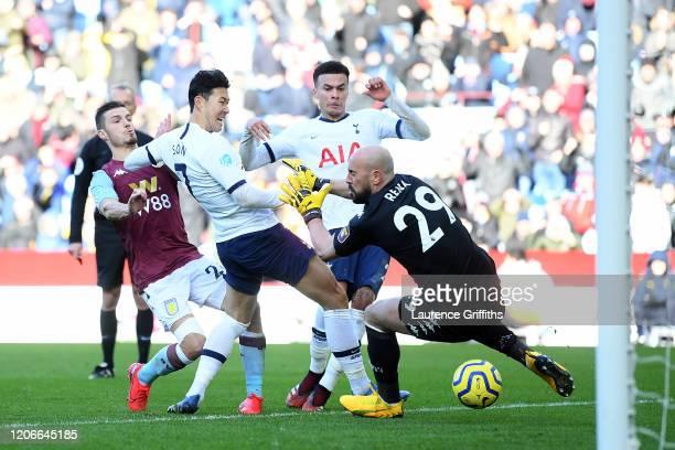 Heung-Min Son of Tottenham Hotspur scores his sides second goal past Pepe Reina of Aston Villa during the Premier League match between Aston Villa...