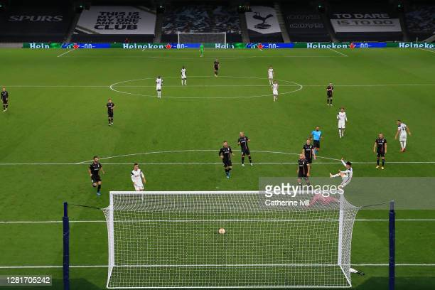 Heung-Min Son of Tottenham Hotspur scores his sides third goal during the UEFA Europa League Group J stage match between Tottenham Hotspur and LASK...