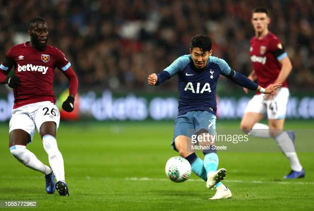 HeungMin Son of Tottenham Hotspur scores his team's first goal during the Carabao Cup Fourth Round match between West Ham United and Tottenham...