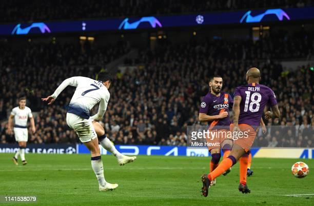 HeungMin Son of Tottenham Hotspur scores his team's first goal during the UEFA Champions League Quarter Final first leg match between Tottenham...