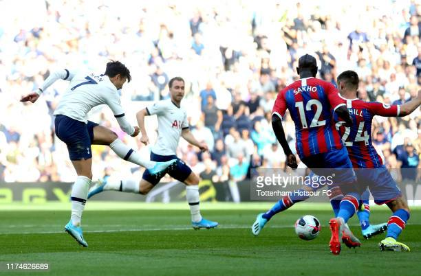 HeungMin Son of Tottenham Hotspur scores his team's first goal during the Premier League match between Tottenham Hotspur and Crystal Palace at...