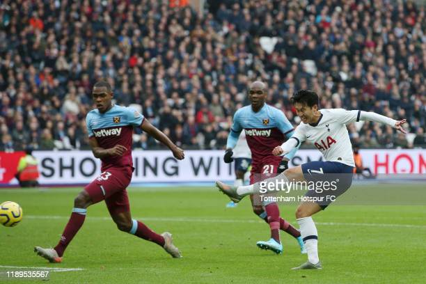 Heung-Min Son of Tottenham Hotspur scores his team's first goal during the Premier League match between West Ham United and Tottenham Hotspur at...