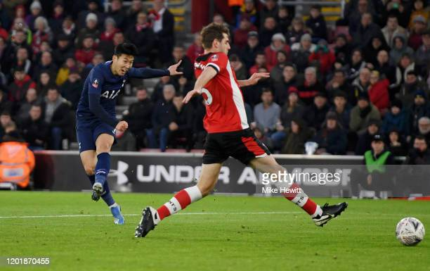HeungMin Son of Tottenham Hotspur scores his team's first goal during the FA Cup Fourth Round match between Southampton FC and Tottenham Hotspur at...