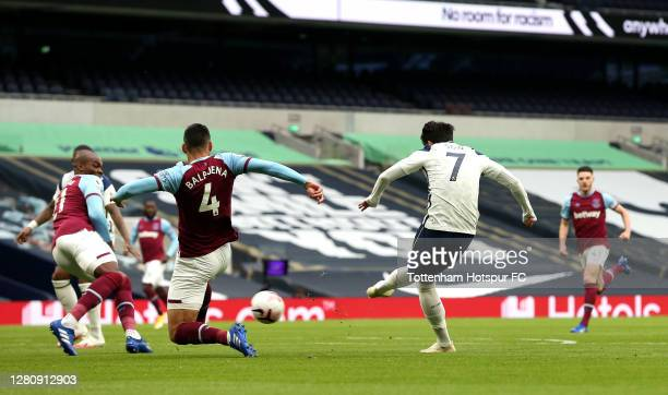 Heung-Min Son of Tottenham Hotspur scores his team's first goal during the Premier League match between Tottenham Hotspur and West Ham United at...