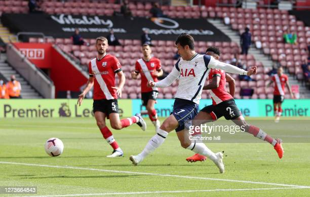 Heung-Min Son of Tottenham Hotspur scores his team's fourth goal during the Premier League match between Southampton and Tottenham Hotspur at St...