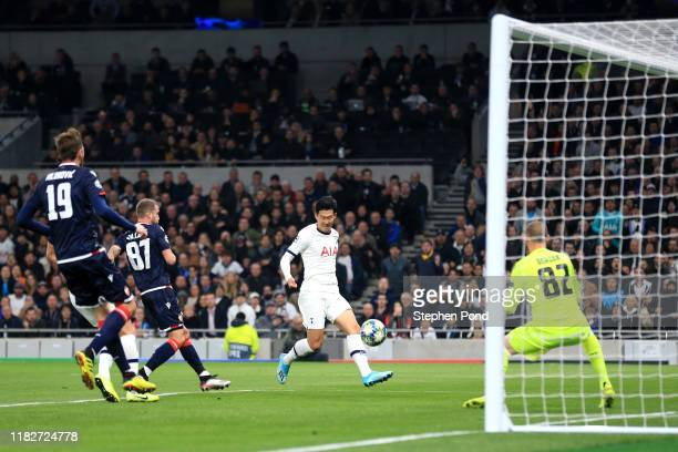 HeungMin Son of Tottenham Hotspur scores his team's second goal during the UEFA Champions League group B match between Tottenham Hotspur and Crvena...