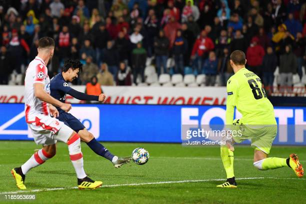 Heung-Min Son of Tottenham Hotspur scores his team's second goal during the UEFA Champions League group B match between Crvena Zvezda and Tottenham...
