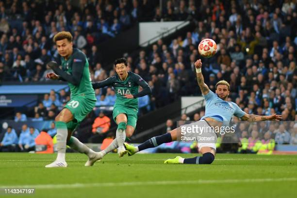 HeungMin Son of Tottenham Hotspur scores his team's second goal under pressure from Kyle Walker of Manchester City during the UEFA Champions League...
