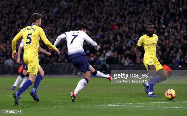 HeungMin Son of Tottenham Hotspur scores his team's third goal during the Premier League match between Tottenham Hotspur and Chelsea FC at Tottenham...