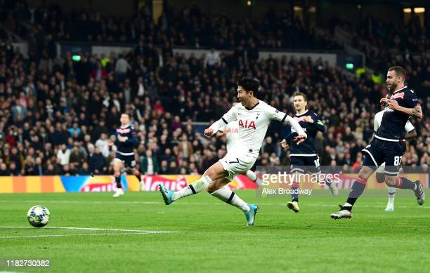 HeungMin Son of Tottenham Hotspur scores his team's third goal during the UEFA Champions League group B match between Tottenham Hotspur and Crvena...
