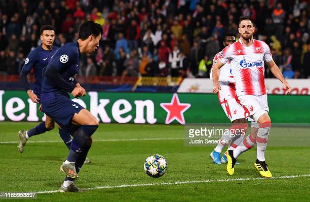 HeungMin Son of Tottenham Hotspur scores his team's third goal during the UEFA Champions League group B match between Crvena Zvezda and Tottenham...