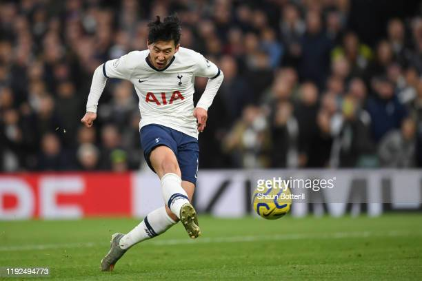 HeungMin Son of Tottenham Hotspur scores his team's third goal during the Premier League match between Tottenham Hotspur and Burnley FC at Tottenham...