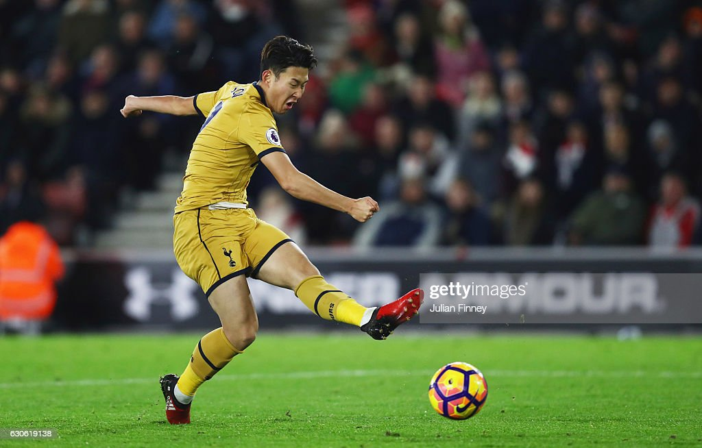 Heung-Min Son of Tottenham Hotspur scores their third goal during the Premier League match between Southampton and Tottenham Hotspur at St Mary's Stadium on December 28, 2016 in Southampton, England.