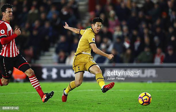 HeungMin Son of Tottenham Hotspur scores their third goal during the Premier League match between Southampton and Tottenham Hotspur at St Mary's...