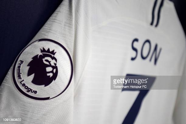 HeungMin Son of Tottenham Hotspur shirt is seen in the dressing room ahead of the Premier League match between Tottenham Hotspur and Watford FC at...