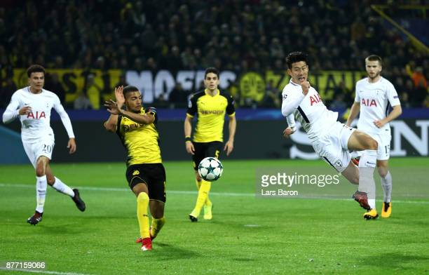 HeungMin Son of Tottenham Hotspur shoots and misses during the UEFA Champions League group H match between Borussia Dortmund and Tottenham Hotspur at...