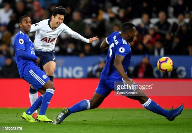 HeungMin Son of Tottenham Hotspur shoots during the Premier League match between Leicester City and Tottenham Hotspur at The King Power Stadium on...