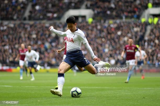 HeungMin Son of Tottenham Hotspur shoots during the Premier League match between Tottenham Hotspur and West Ham United at Tottenham Hotspur Stadium...
