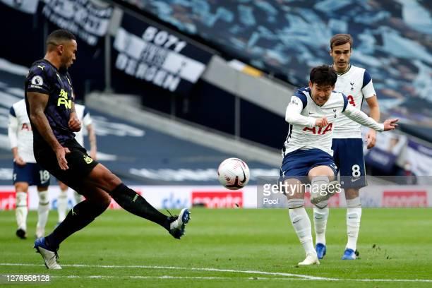 HeungMin Son of Tottenham Hotspur shoots during the Premier League match between Tottenham Hotspur and Newcastle United at Tottenham Hotspur Stadium...