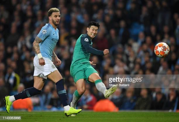 HeungMin Son of Tottenham Hotspur shoots wide during the UEFA Champions League Quarter Final second leg match between Manchester City and Tottenham...