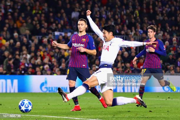 HeungMin Son of Tottenham Hotspur takes a shot during the UEFA Champions League Group B match between FC Barcelona and Tottenham Hotspur at Camp Nou...