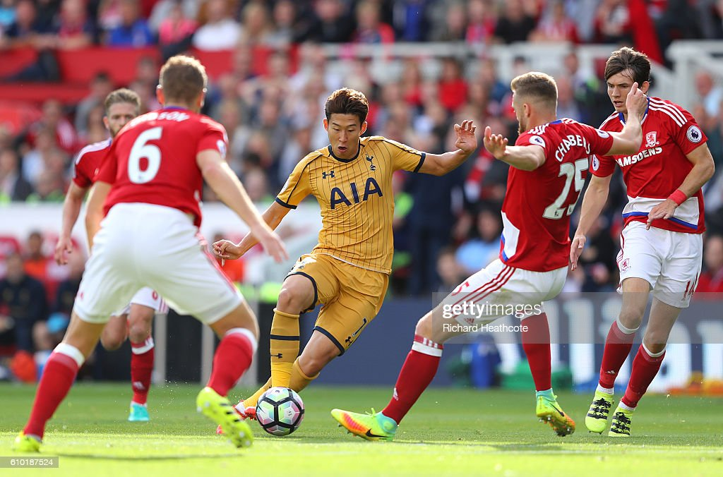 Heung-Min Son of Tottenham Hotspur takes on the Middlesbrough defence during the Premier League match between Middlesbrough and Tottenham Hotspur at the Riverside Stadium on September 24, 2016 in Middlesbrough, England.
