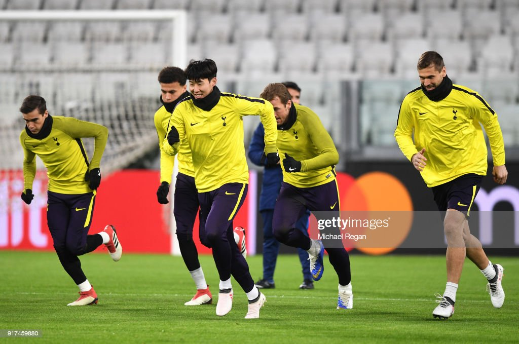Heung-Min Son of Tottenham Hotspur trains during the Tottenham Hotspur FC Training Session ahead of there UEFA Champions League Round of 16 match against Juventus at Allianz Stadium on February 12, 2018 in Turin, Italy.