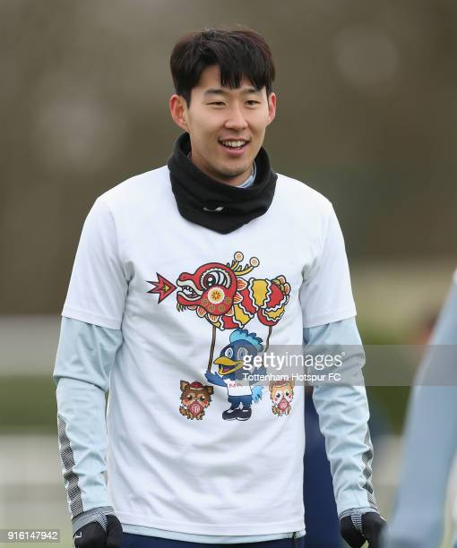 HeungMin Son of Tottenham Hotspur trains in a Chinese New Year tshirt ahead of the north london derby during the Tottenham Hotspur training session...