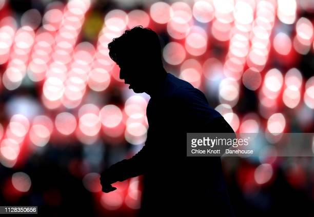 HeungMin Son of Tottenham Hotspur warms up ahead of the Premier League match between Tottenham Hotspur and Arsenal FC at Wembley Stadium on March 2...