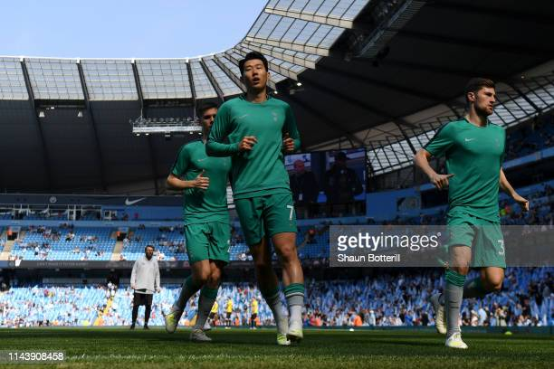 HeungMin Son of Tottenham Hotspur warms up prior to the Premier League match between Manchester City and Tottenham Hotspur at Etihad Stadium on April...