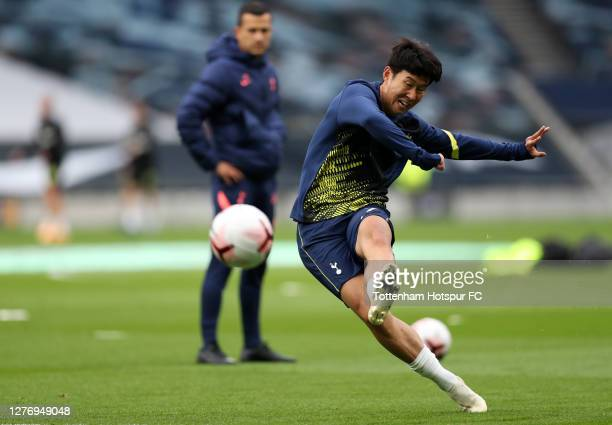 HeungMin Son of Tottenham Hotspur warms up prior to the Premier League match between Tottenham Hotspur and Newcastle United at Tottenham Hotspur...