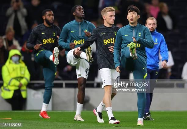 Heung-Min Son of Tottenham Hotspur warms up with team mates prior to the UEFA Europa Conference League group G match between Tottenham Hotspur and NS...