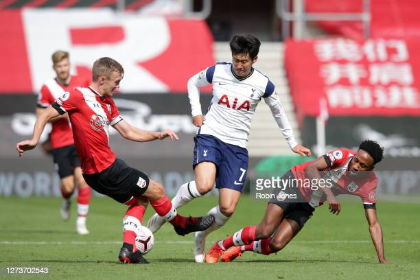 HeungMin Son of Tottenham Hotspur with James WardProwse and Kyle WalkerPeters of Southampton during the Premier League match between Southampton and...