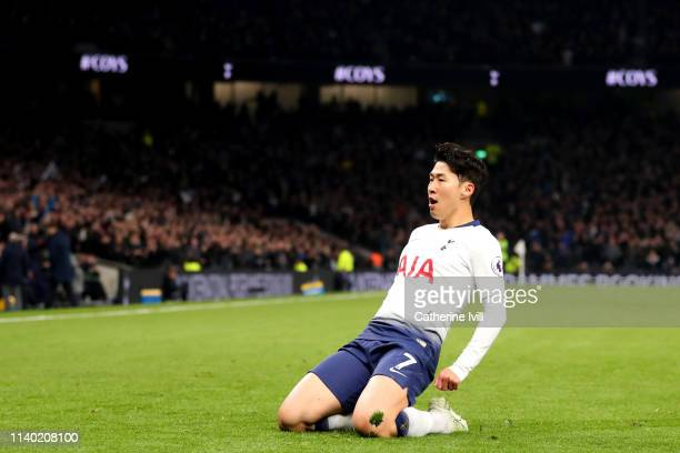 HeungMin Son of Tottenham Hotspurduring the Premier League match between Tottenham Hotspur and Crystal Palace at Tottenham Hotspur Stadium on April...
