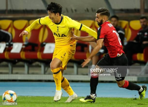 HeungMin Son of Tottenham Hotspurs in action against Mavlan Murati of Skendija during the UEFA Europa League third round qualifying match between...
