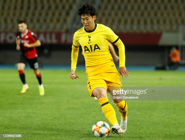 HeungMin Son of Tottenham Hotspurs in action during the UEFA Europa League third round qualifying match between Shkendija and Tottenham Hotspur at...