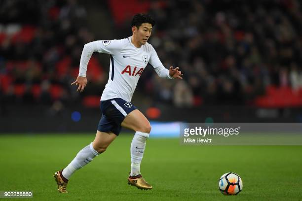 HeungMin Son of Tottenham in action during The Emirates FA Cup Third Round match between Tottenham Hotspur and AFC Wimbledon at Wembley Stadium on...