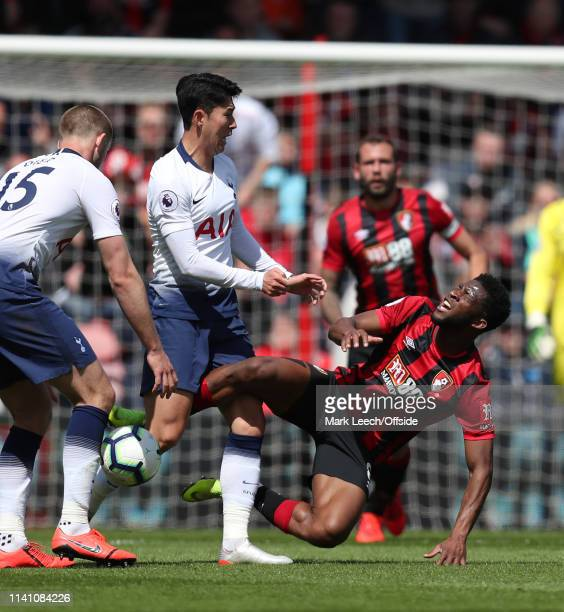 Heung-Min Son of Tottenham pushes Jefferson Lerma of Bournemouth to earn a red card during the Premier League match between AFC Bournemouth and...
