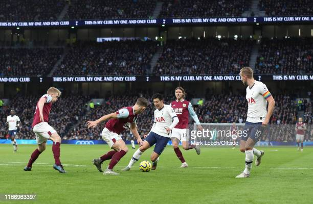 Heung-Min Son of Tottenham runs at the Burnley defence during the Premier League match between Tottenham Hotspur and Burnley FC at Tottenham Hotspur...