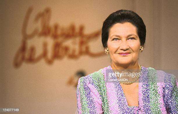 TV 'L'heure de verite' with Simone Veil in Paris France on May 24 1989