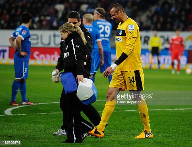 Heurelho Gomes of Hoffenheim walks off after a possible injury during the Bundesliga match between TSG 1899 Hoffenheim and Fortuna Duesseldorf 1895...