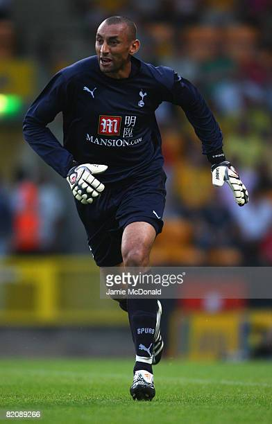 Heurelho Gomes of Tottenham in action during the preseason match between Norwich City and Tottenham Hotspur at Carrow Road on July 28 2008 in Norwich...