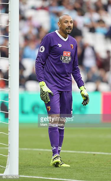 Heurelho Gomes of Waford in action during the Premier League match between West Ham United and Watford at the Olympic Stadium on September 10 2016 in...