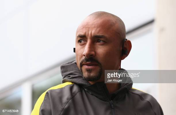 Heurelho Gomes of Watford arrives prior to the Premier League match between Hull City and Watford at the KCOM Stadium on April 22 2017 in Hull England