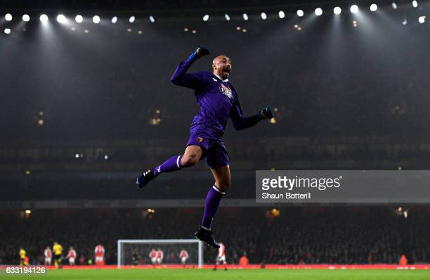 Heurelho Gomes of Watford celebrate his side's during the Premier League match between Arsenal and Watford at Emirates Stadium on January 31 2017 in...