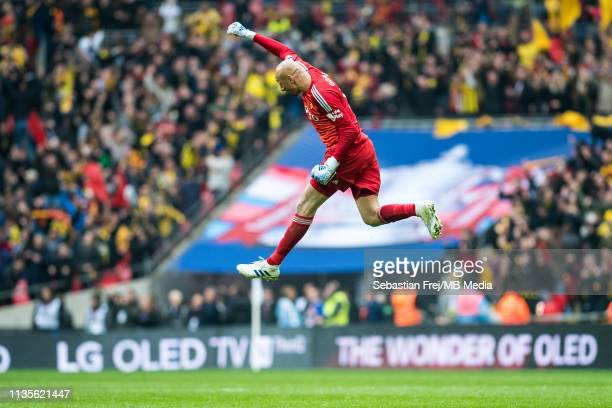 Heurelho Gomes of Watford celebrates after his team score the 2nd goal during the FA Cup Semi Final match between Watford and Wolverhampton Wanderers...