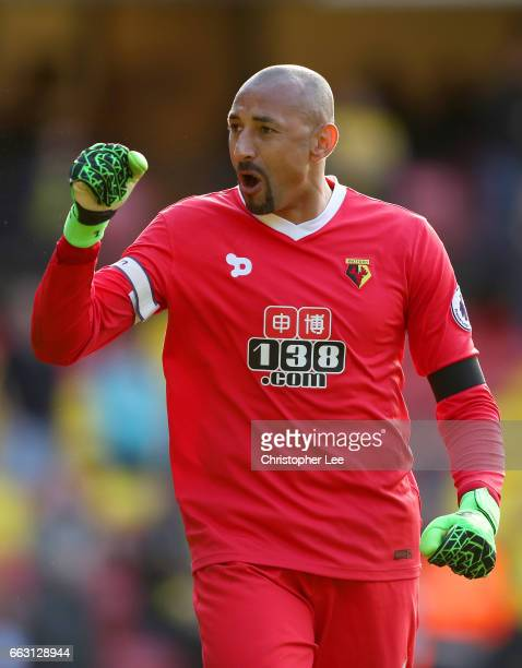 Heurelho Gomes of Watford celebrates after the Premier League match between Watford and Sunderland at Vicarage Road on April 1 2017 in Watford England