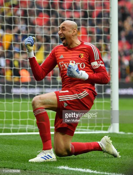 Heurelho Gomes of Watford celebrates as Gerard Deulofeu of Watford scores their third goal during the FA Cup Semi Final match between Watford and...