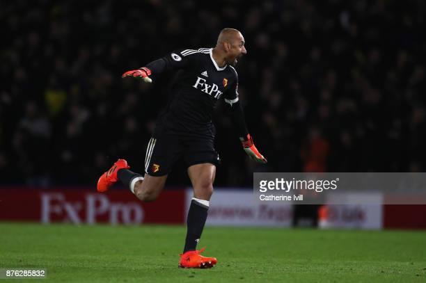 Heurelho Gomes of Watford celebrates as he Richarlison de Andrade of Watford scores their second goal during the Premier League match between Watford...