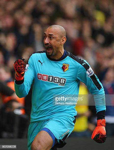 Heurelho Gomes of Watford celebrates as Odion Ighalo of Watford scores their second goal during the Barclays Premier League match between Watford and...